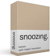 Snoozing - Katoen - Split-topper - Hoeslaken - Lits-jumeaux - 160x200 cm - Camel
