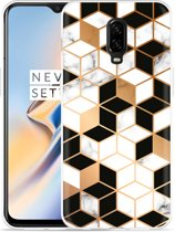 OnePlus 6T Hoesje Black-white-gold Marble