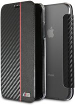 BMW M Sport Rood - Zwart - Booktype Transparant Case iPhone X