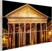 Pantheon Rome in de nacht Hout 160x120 cm - Foto print op Hout (Wanddecoratie) XXL / Groot formaat!