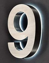 RVS Huisnummer met witte LED verlichting | Hoogte 20cm | dikte 3,5cm | Nummer 9