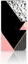 Honor View 20 Uniek Boekhoesje Black Pink Shapes