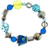 Elastische armband blauw met glaskralen