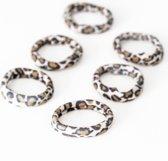 Set van 6 Haarbandjes Luipaardprint | Haarelastiek Nylon-Katoen
