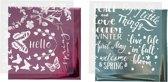 Deco folie en transfervel vel 15x15 cm lichtblauw roze voorjaar 2x2vellen