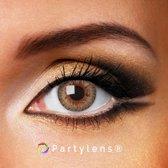 Kleurlenzen 'Clear Brown' jaarlenzen inclusief lenzendoosje - bruine contactlenzen Partylens®