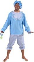 Grote Baby Kostuum   Blauwe Ik Word Nooit Volwassen Baby   Man   Medium   Carnaval kostuum   Verkleedkleding
