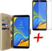Samsung Galaxy A7 (2018) Hoesje Book Case met Pasjeshouder Goud + Screenprotector Gehard Glas - Wallet van iCall