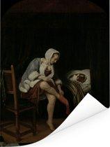 Het morgentoilet - Schilderij van Jan Steen Poster 120x160 cm - Foto print op Poster (wanddecoratie woonkamer / slaapkamer) XXL / Groot formaat!
