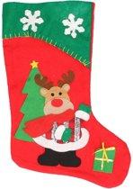 Kerstsok rendier rood/groen 45 cm decoratie/versiering