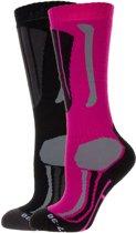 Falcon Max Wintersportsokken - Maat 31-34 - Unisex - roze/ zwart/ grijs