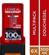 L'Oréal Paris Men Expert Stop Stress Showergel - 6 x 300 ml - Voordeelverpakking