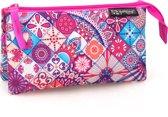 Delbag - Etui 3 Compartimenten - Flower - voor Meisjes - 22 cm