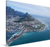 Luchtfoto van het Zuid-Afrikaanse Kaapstad Canvas 140x90 cm - Foto print op Canvas schilderij (Wanddecoratie woonkamer / slaapkamer)
