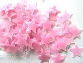 100 Roze Sterren aan de hemel - Glow in the dark sterren - lichtgevende Roze sterren - Leuk voor in de kinderkamer - 100 stuks
