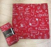 Unique Living - Kerst - servetten set - Rood van katoen - 6 stuks - 40 x 40 cm
