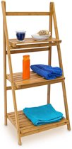 relaxdays Badkamermeubel - Houten ladder 3 treden - Ruime planken - Bamboe hout -100x45x33