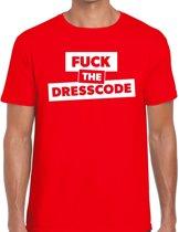 Fuck the dresscode tekst t-shirt rood heren - heren shirt Fuck the dresscode S
