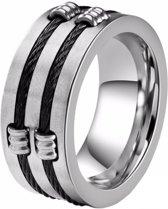 Zilverkleurige stalen kabel ring voor mannen-21mm
