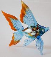 Beeld Vis van glas Design C Blauwe vinnen handgemaakt