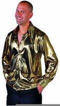 Volwassenenkostuum Disco hemd folie goud metalic maat M