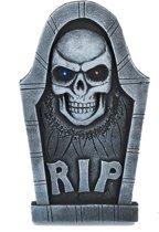 Lichtgevende doodskop grafsteen - Feestdecoratievoorwerp