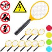 relaxdays 10 x elektrische vliegenmepper - tegen muggen - vliegen mepper - oranje - set