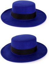 Spaanse hoed blauw met band