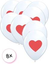Ballonnen Wit met rood hart 8x
