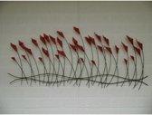 Metalen wanddecoratie bloemen papaver rood - 122 x 54 cm