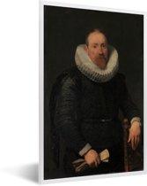 Foto in lijst - Portrait of a Man - Schilderij van Anthony van Dyck fotolijst wit 40x60 cm - Poster in lijst (Wanddecoratie woonkamer / slaapkamer)