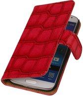 Samsung Galaxy Core II Hoesje Glans Krokodil Bookstyle Rood
