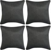 Kussenhoezen 4 stuks antraciet 40 x 40 cm imitatiesuède polyester