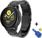 Metalen Armband Voor Samsung Galaxy Watch Active / 42mm Smartwatch - Horloge Band Strap - Schakel Polsband Strap RVS - Zwart