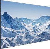 Besneeuwde bergen in de winter Aluminium 60x40 cm - Foto print op Aluminium (metaal wanddecoratie)