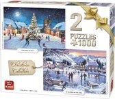 King 2 in 1 Puzzel 1000 Stukjes (68 x 49 cm) - Kerstpuzzel Collectie