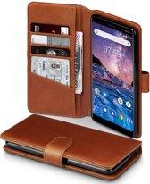 Qubits - luxe echt lederen wallet hoes - Nokia 7 Plus - cognac
