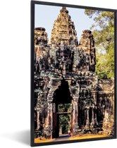 Foto in lijst - Zuidelijke ingang van het Angkor Wat-complex fotolijst zwart 40x60 cm - Poster in lijst (Wanddecoratie woonkamer / slaapkamer)