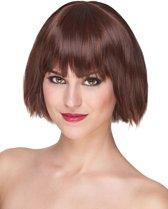 Luxe korte bruine pruik voor vrouwen - Verkleedpruik - One size