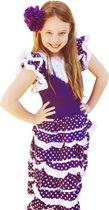 Spaanse jurk - Flamenco - Paars/Wit - Maat 116/122 (8) - Verkleed jurk