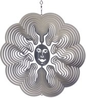 Spin Art Windspinner Zon - 15cm rond - zilverkleurig