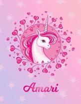 Amari: Unicorn Sheet Music Note Manuscript Notebook Paper - Magical Horse Personalized Letter D Initial Custom First Name Cov