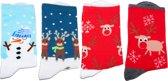 Kerst sokken - set van 4 paar kerstsokken -  maat 36 - 43