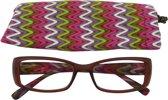 Lilly&June Leesbril Multikleuren Zigzag Patroon +1 - Met Bijpassend Etui