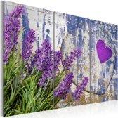 Canvas Schilderij - Lavendel liefde, Paars, 2 Maten, 3luik
