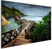 Indonesische brug Aluminium 180x120 - XXL cm - Foto print op Aluminium (metaal wanddecoratie)