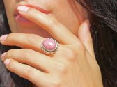 Zilveren ring Rhodonite Flower Power