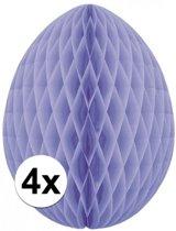 4x Decoratie paasei lila 10 cm - Paasversiering / Paasdecoratie