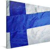 Foto van de vlag van Finland Canvas 80x60 cm - Foto print op Canvas schilderij (Wanddecoratie woonkamer / slaapkamer)
