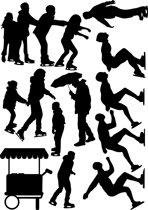 Uitbreidingsset stickers 'Schaatsen', HERBRUIKBAAR
